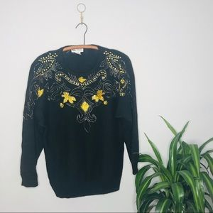 Vintage Retro 80's Gold Beaded Leaf Sweater